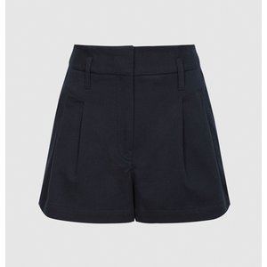 Reiss April - Pleat Front Tailored Shorts In Navy, Womens, Size 4 Navy Blue Reiss19801830004, Navy Blue