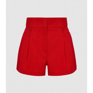 Reiss April - Pleat Front Tailored Shorts In Red, Womens, Size 8 Reiss19800663008, Red