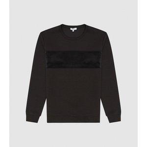 Reiss Arty - Velour Block Stripe Sweatshirt In Charcoal, Mens, Size Xl Dark Grey Reiss41708540004, Dark Grey