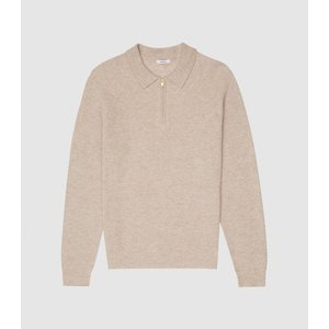 Reiss Aston - Zip Neck Ribbed Polo Shirt In Oatmeal, Mens, Size S Reiss51720711001, Oatmeal