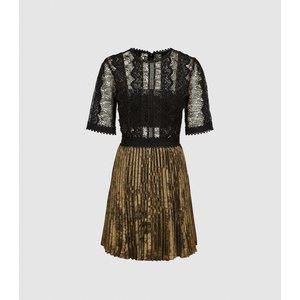 Reiss Athena - Lace Detailed Mini Dress In Black/gold, Womens, Size 8 Black And Gold Reiss29737420008, Black and Gold