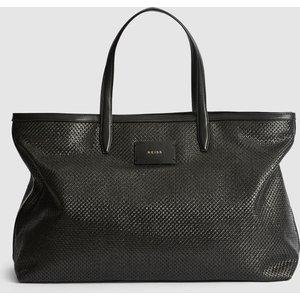 Reiss Aubrey Tote - Large Raffia Tote Bag In Black, Womens Reiss98810720099, Black