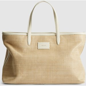Reiss Aubrey Tote - Large Raffia Tote Bag In Natural, Womens Reiss98810911099, Natural