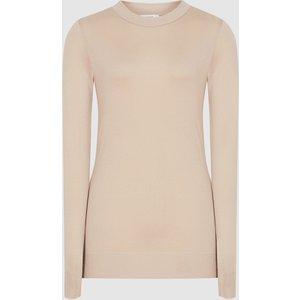 Reiss Aurellie - Semi-sheer Slim-fit Top In Neutral, Womens, Size L Reiss45610503003, Neutral