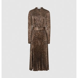 Reiss Avianna - Croc Print Midi Dress In Brown, Womens, Size 10 Reiss29737014010, Brown