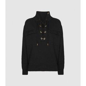 Reiss Aya - Twin-pocket Sweatshirt In Black, Womens, Size L Reiss45718020003, Black