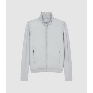 Reiss Baron - Hybrid Zip Through Jumper In Grey, Mens, Size S Reiss51817543001, Grey