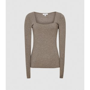 Reiss Bea - Square Neck Jersey Top In Neutral, Womens, Size L Reiss45818503003, Neutral