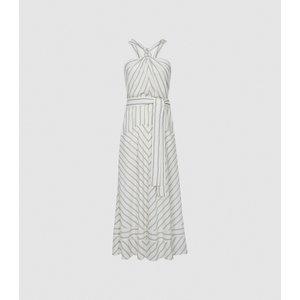 Reiss Bea - Striped Halterneck Midi Dress In White/green, Womens, Size 4 White/grey Reiss29847200004, White/Grey