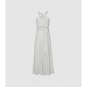 Reiss Bea - Striped Halterneck Midi Dress In White/green, Womens, Size 8 White/grey Reiss29847200008, White/Grey