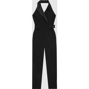 Reiss Belinda - Tux Detail Halterneck Jumpsuit In Black, Womens, Size 12 Reiss33604320012, Black