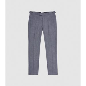 Reiss Ben - Puppytooth Check Slim Fit Trousers In Airforce Blue, Mens, Size 36 Reiss21700933036, Blue