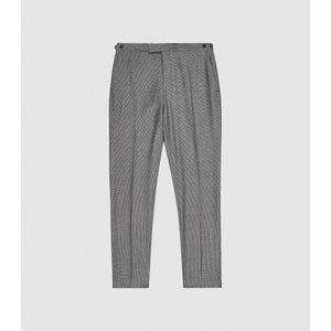 Reiss Ben - Puppytooth Check Slim Fit Trousers In Charcoal, Mens, Size 28 Grey Reiss21700940028, Grey