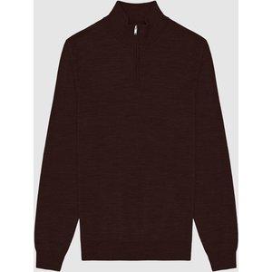 Reiss Blackhall - Merino Wool Zip Neck Jumper In Bordeaux, Mens, Size S Red Reiss51706964001, Red