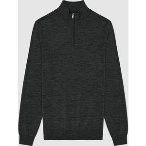Reiss Blackhall - Merino Wool Zip Neck Jumper In Forest Green, Mens, Size M Reiss51706950002, Green