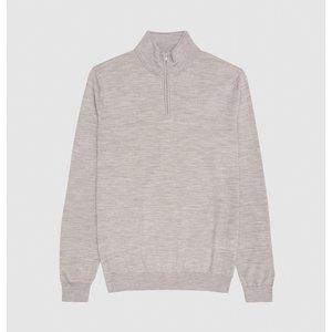 Reiss Blackhall - Merino Wool Zip Neck Jumper In Putty Mouline, Mens, Size M Reiss51706903002, Putty Mouline