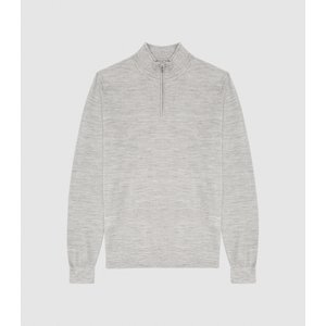 Reiss Blackhall - Merino Wool Zip Neck Jumper In Soft Grey Mouline, Mens, Size M Reiss51811543002, Soft Grey Mouline