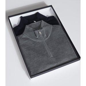 Reiss Blackhall - Two Pack Of Merino Wool Zip Neck Jumpers In Navy/ Mid Grey Melange, Mens Reiss51722430002, Navy/ Mid Grey Melange