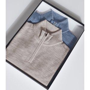 Reiss Blackhall - Two Pack Of Merino Wool Zip Neck Jumpers In Denim Mouline, Mens, Size Xl Reiss51722445004, Denim Mouline