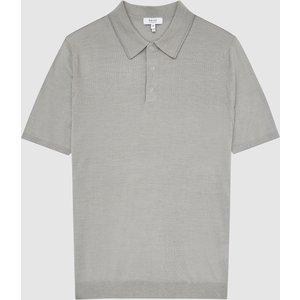 Reiss Blair - Wool Press Snap Polo Shirt In Pale Sage, Mens, Size M Reiss51915553002, Pale Sage