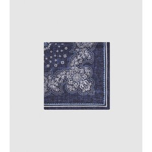 Reiss Bologna - Silk Double Sided Pocket Square In Navy, Mens Reiss94702430099, Navy