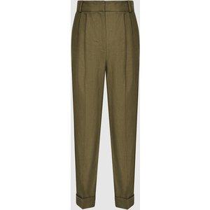 Reiss Brea - Pleat Front Tailored Linen Trousers In Khaki, Womens, Size 14 Reiss25604751014, Khaki