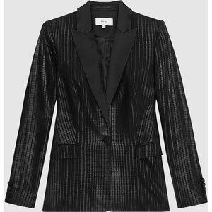 Reiss Briar - Shimmer Blazer In Black, Womens, Size 10 Reiss18607220010, Black