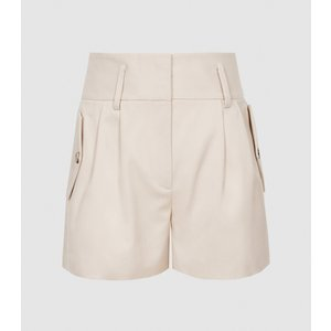 Reiss Brooklyn - Pocket Front Tailored Shorts In Neutral, Womens, Size 14 Brown Reiss19701903014, Brown