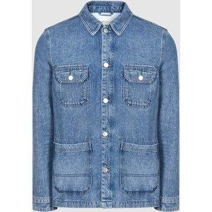 Reiss Brown - Four Pocket Denim Jacket In Light Wash Denim, Mens, Size Xs Light Blue Reiss14805345000, Light Blue