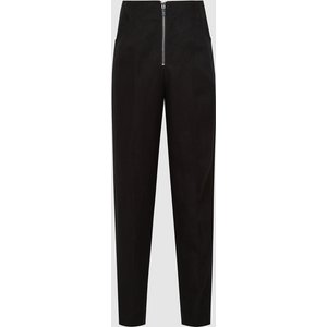Reiss Cally - Linen Blend Trousers With Exposed Zip In Black, Womens, Size 16 Reiss26808220016, Black