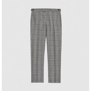 Reiss Camp - Tailored Checked Trousers In Grey, Mens, Size 36 Reiss21708943036, Grey
