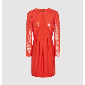 Reiss Cara - Sequin Mini Dress In Red, Womens, Size 8 Reiss29736163008, Red