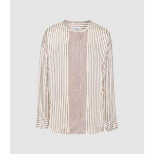 Reiss Carlie - Striped Blouse In Cream, Womens, Size 18 Reiss46817802018, Cream
