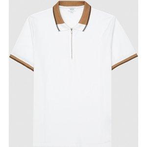 Reiss Carter - Cotton Zip Neck Polo Shirt In White/ Camel, Mens, Size Xs Reiss41801713000, White/ Camel