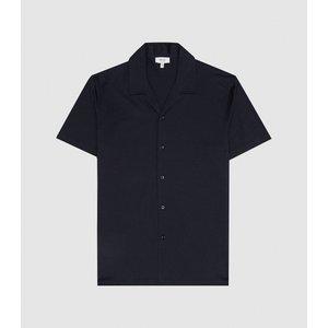 Reiss Caspa - Mercerised Cotton Jersey Shirt In Navy, Mens, Size Xxl Reiss41811830005, Navy