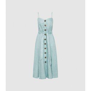 Reiss Catalina - Linen Button-up Midi Dress In Sage, Womens, Size 12 Sage Green Reiss29815453012, Sage Green