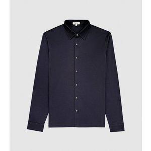 Reiss Chapter - Mercerised Cotton Shirt In Navy, Mens, Size Xl Blue Reiss41506530004, Blue