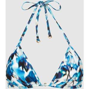 Reiss Cheska - Printed Triangle Bikini Top In Blue Print, Womens, Size 14 Reiss97802337014, Blue Print