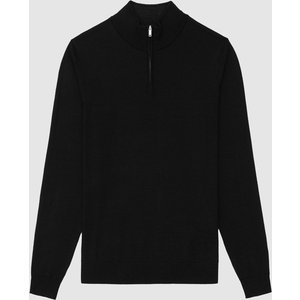 Reiss Chester - Wool Zip Neck Jumper In Black, Mens, Size S Reiss51707620001, Black