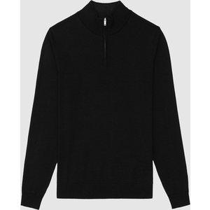 Reiss Chester - Wool Zip Neck Jumper In Black, Mens, Size Xxl Reiss51707620005, Black