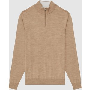 Reiss Chester - Wool Zip Neck Jumper In Camel Melange, Mens, Size S Brown Reiss51707613001, Brown