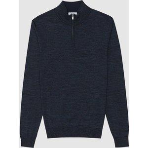 Reiss Chester - Wool Zip Neck Jumper In Indigo Mouline, Mens, Size Xs Reiss51707645000, Indigo