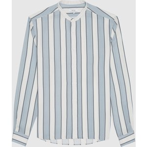 Reiss Chince - Striped Grandad Collar Shirt In Soft Blue Stripe, Mens, Size M White And Blue Reiss32707600002, White and Blue