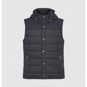 Reiss Christopher - Padded Gilet With Hood In Charcoal, Mens, Size Xl Reiss41808440004, Charcoal