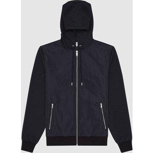 Reiss Claude - Hybrid Hooded Jacket In Navy, Mens, Size Xs Reiss41801630000, Navy