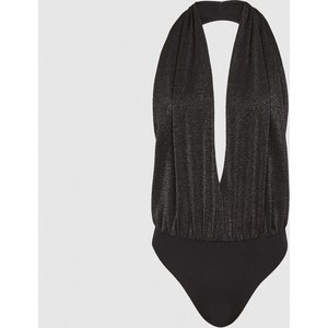 Reiss Cleona - Metallic Halterneck Bodysuit In Black, Womens, Size M Reiss45714520002, Black