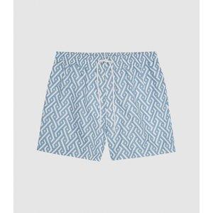 Reiss Clifford - Geo Print Swim Shorts In Soft Blue, Mens, Size Xxl Reiss43800633005, Soft Blue