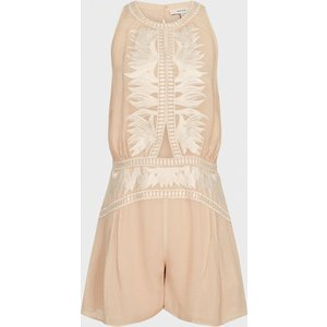 Reiss Coco - Embroidered Resortwear Playsuit In Nude, Womens, Size 14 Reiss97608703014, Nude
