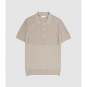 Reiss Columbus - Cotton Zip Neck Polo Shirt In Putty, Mens, Size Xs Reiss51817103000, Putty