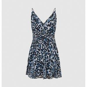 Reiss Cressida - Printed Mini Dress In Blue, Womens, Size 10 Reiss29844245010, Blue